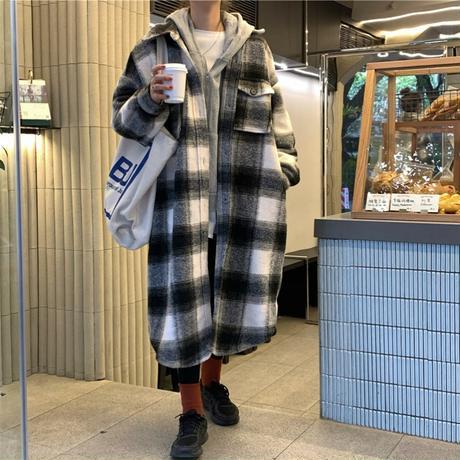 チェック柄 ロングコート ウールコート ルーズ 韓国ファッション レディース コート ゆったり カジュアル レトロ 大人カジュアル 大人可愛い ストリート系 DTC-635235027557
