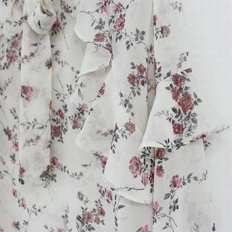 レディース ブラウス シフォン 花柄 フレア袖 シャツ シフォンブラウス フラワープリント リボン 韓国ファッション オルチャン (DCT-583687421310)