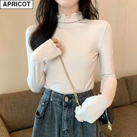 スリムフィット カットソー 長袖 ハーフネック フリルネック 韓国ファッション レディース Tシャツ 伸縮性 無地 シンプル 大人可愛い ガーリー DTC-628616580526