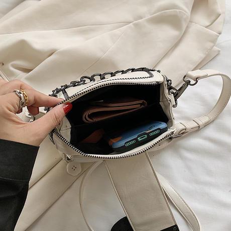 2WAY スクエアバッグ ハンドバッグ ショルダーバッグ ベルトデザイン ミニバッグ バッグ 鞄 レトロ ホワイト ブラック ブラウン DTC-625750940302