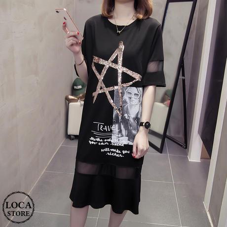 レディース ペンタグラム 五芒星ロゴ シースルーワンピース ロングTシャツ ゆったり 韓国ファッション オルチャン (DCT-569229393510)