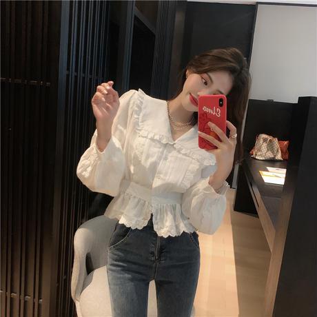 ブラウス 大きい襟 フリル 長袖 韓国ファッション レディース ショート丈 シャツ トップス 大人可愛い ガーリー DTC-625671877007