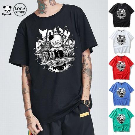 UPANDA 【5カラー】ユニセックス メンズ/レディース 半袖 Tシャツ ボクサーパンダ パンダプリント 人気 インスタ ストリート系 (DCT-597089579482)
