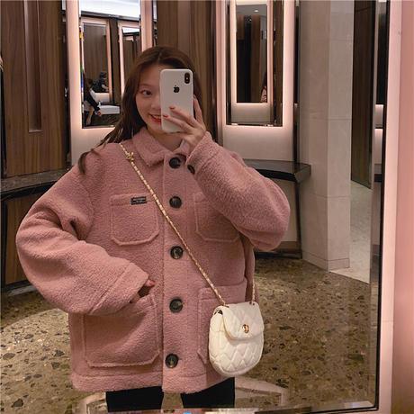ボアショートコート 韓国ファッション レディース ボアジャケット もこもこ アウター ゆったり ブルゾン 秋 冬 大人カジュアル 韓国 オルチャンファッション (DTC-605271965133)