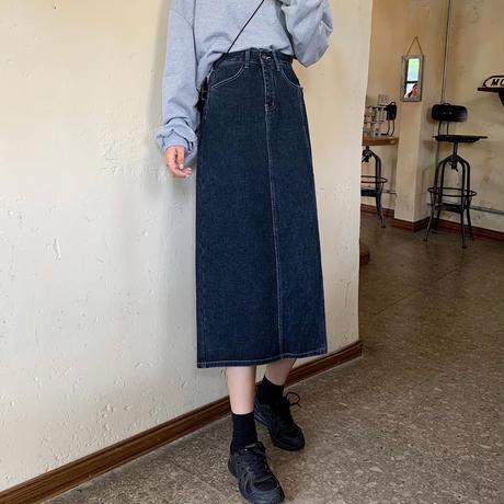 デニムスカート スリット ロングスカート 韓国ファッション レディース ハイウエスト Aライン 大人カジュアル かわいい ガーリー 626231864384