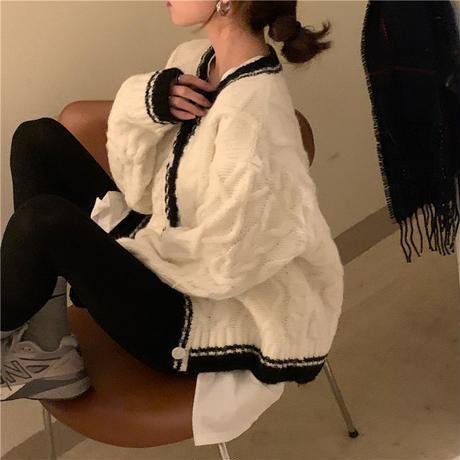 カーディガン ラウンドネック ケーブル編み ラウンドネック ルーズ アウター 韓国ファッション レディース セーター ゆったり レトロ 大人可愛い ガーリー DTC-653431246661