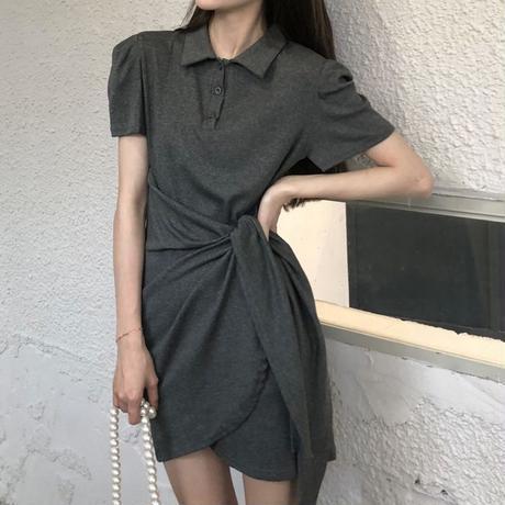不規則デザイン ポロワンピース ウエストマーク 半袖 薄手 韓国ファッション レディース ワンピース ポロ襟 スポーツ 大人カジュアル ガーリー DTC-642284586570