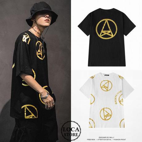 ユニセックス メンズ/レディース Tシャツ ピースマーク 大きいサイズ K-POP ストリート系 韓国ファッション オルチャン (DCT-596669256476)