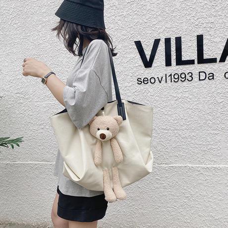 クマちゃんぬいぐるみ キャンバスバッグ 大容量 帆布バッグ 韓国ファッション レディース バッグ クマ ベアー ぬいぐるみ カジュアル DTC-623273843347