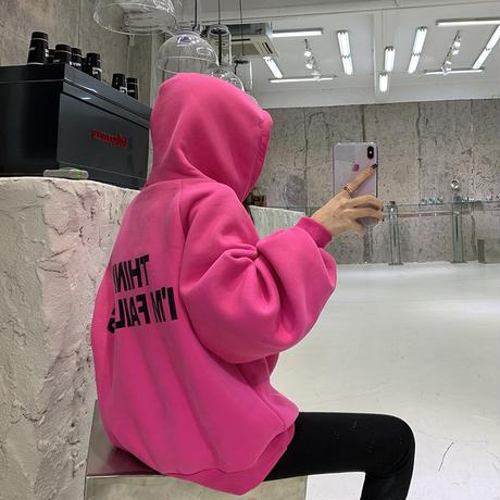 パーカー 3色 グレー ピンク ホワイト プラスベルベット ルーズ 韓国ファッション レディース 大人可愛い かわいい ガーリー 634030164430