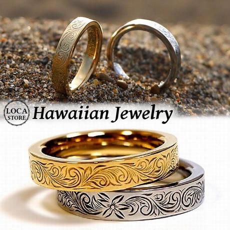 ハワイアンジュエリー リング 指輪 メンズ レディース 金属アレルギー対応 プルメリア スクロール サージカル ステンレス 316L PVD ハワジュ シルバー ゴールド grs8683