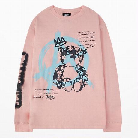 ユニセックス 長袖 Tシャツ メンズ レディース クマちゃん ベア グラフィティプリント 袖プリント ラウンドネック オーバーサイズ 大きいサイズ ストリート TBN-627594109087
