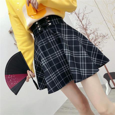 チェック柄 ミニスカート レースアップ  韓国ファッション レディース Aライン スカート フレア ハイウエスト ガーリー DTC-604591187067