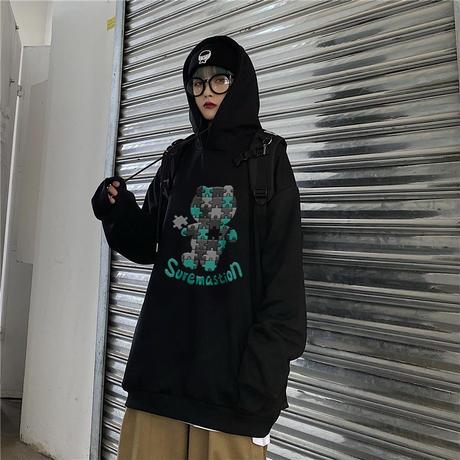 ユニセックス パーカー パズルくまちゃん プラスベルベット プルオーバー オーバーサイズ 韓国ファッション メンズ レディース カジュアル ストリートファッション DTC-653034939182