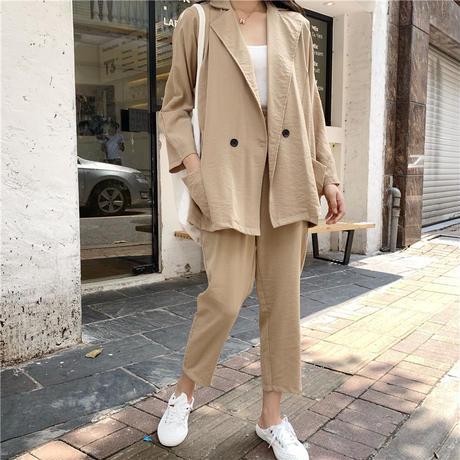 セットアップ 上下セット テーラードジャケット 9分丈パンツ 韓国ファッション レディース ジャケット ウエストゴム ゆるシルエット 春 秋 (DTC-600395425165)