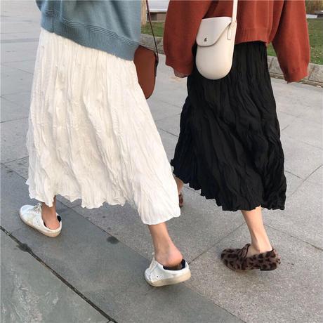 プリーツスカート Aライン ミドル丈 ホワイト ブラック 韓国ファッション レディース スカート ハイウエスト 大人カジュアル かわいい ガーリー 583397483218