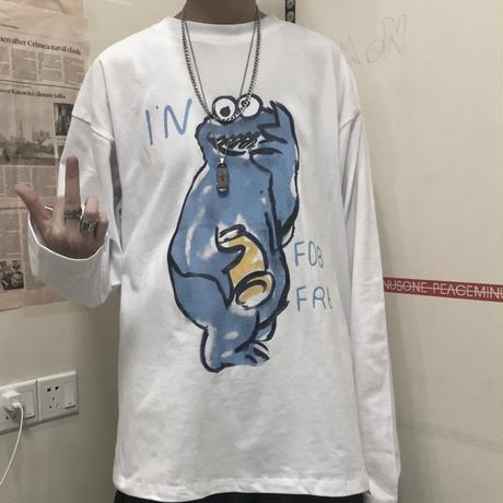 長袖 Tシャツ メンズ レディース ユニセックス 落書き風 キャラクター ロンT オーバーサイズ 大きいサイズ ストリート TBN-601494162221