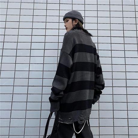ユニセックス ダメージ加工 ボーダーニット ドロップショルダー 韓国ファッション メンズ レディース セーター オーバーサイズ ビター系 ストリート系 モード系 DTC-630622135755