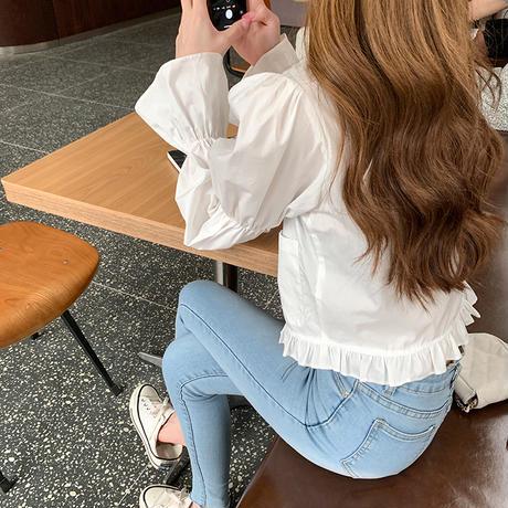 選べる2パターン ブラウス ダブルブレスト 韓国ファッション レディース トランペットスリーブ POLO襟 長袖 無地 チェック柄 ルーズ 大人可愛い ガーリー DTC-627312910642