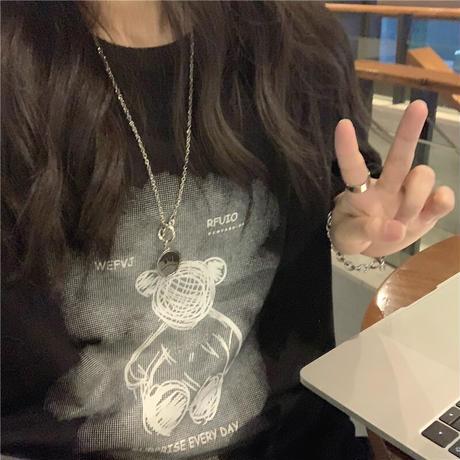 Tシャツ 半袖 クマちゃん ベアー プリント ラウンドネック オーバーサイズ 韓国ファッション レディース 大きめ ガーリー カジュアル ストリートファッション DTC-646471922876