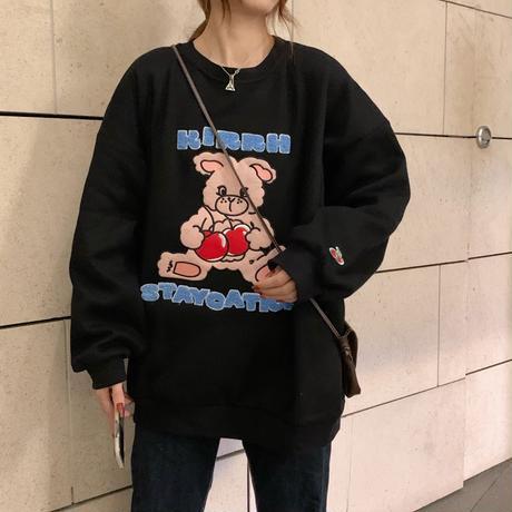 トレーナー プラスベルベット ラウンドネック シンプル ルーズ オーバーサイズ 長袖 ゆったり 韓国ファッション レディース ガーリー フェミニン カジュアル DTC-655085180955