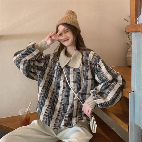 チェック柄 トップス ウールセーター プルオーバー ゆったり 韓国ファッション レディース POLOカラー ルージュ カジュアル 大人可愛い ガーリー DTC-631372798803