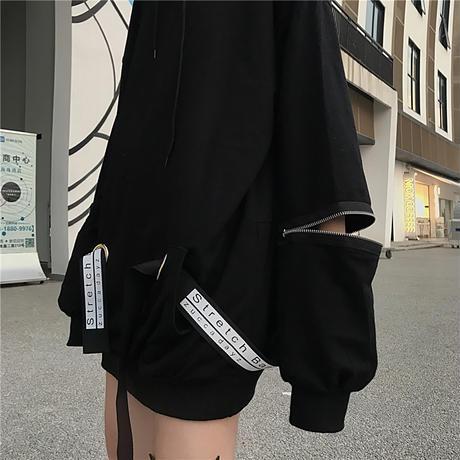 パーカー 袖ジップパーカー ストラップ 切替 オーバーサイズ 韓国ファッション レディース フーディー 袖ジッパー ルーズ カジュアル ストリート系 ファッション DTC-624425421565