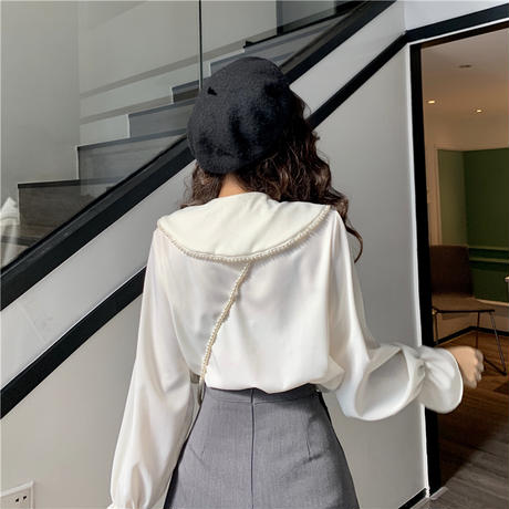 ブラウス 大きい襟 リボン イミテーションパール 韓国ファッション レディース トランペットスリーブ パフ袖 トップス ゆったり 大人可愛い ガーリー DTC-625236668672