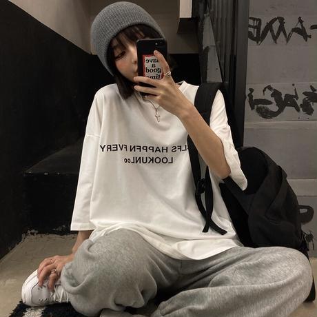 ユニセックス Tシャツ 半袖 ドロップショルダー ラウンドネック オーバーサイズ 韓国ファッション メンズ レディース トップス カジュアル ストリートファッション DTC-638055341572