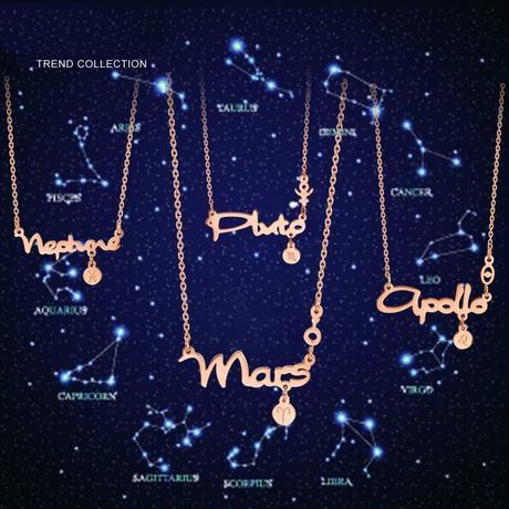 ネックレス レディース チタン 金属アレルギー対応 12星座 ペンダント ピンクゴールド チェーン付 星座 誕生月 (DCT-552782581251)