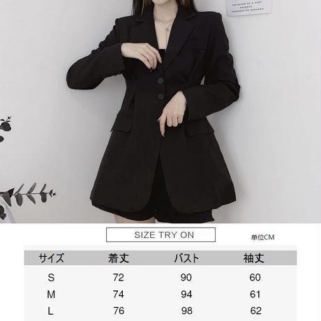 テーラードジャケット ウエストシェイプ ロング丈 韓国ファッション レディース ジャケット ルーズ 長袖 大人可愛い ガーリー DTC-629232843032