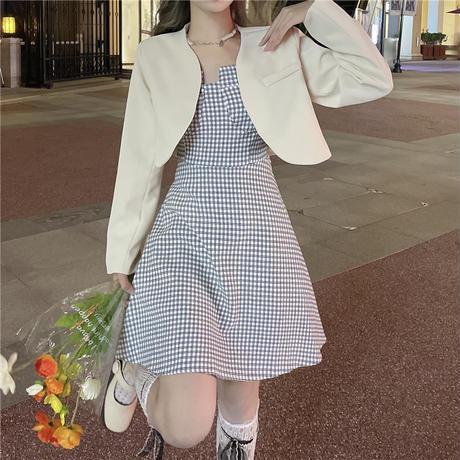 セットアップ ショートジャケット チェック柄 スリングワンピース キャミワンピース ハイウエスト 韓国ファッション 2点セット 大人可愛い ガーリー フェミニン DTC-655756458476