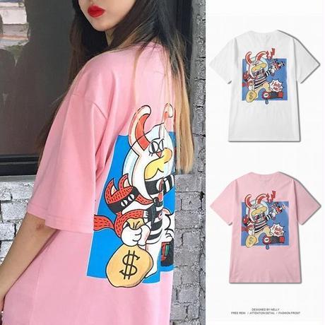 ユニセックス メンズ/レディース Tシャツ ストリート 大きいサイズ プリント 韓国ファッション (DCT-566105316150)
