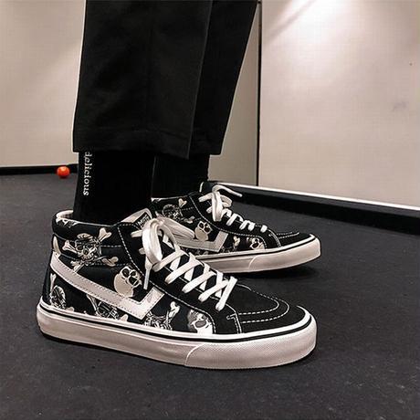 24.5~27.0cm キャンバススニーカー 発光 スカル エイリアン 韓国ファッション メンズ ハイカット どくろ 宇宙人 カジュアル DTC-616805605341