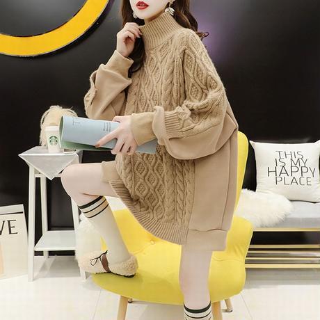 ドッキングトップス 保温 ケーブル編み ニット + トレーナー スウェット 韓国ファッション レディース タートルネック ゆったり 大人カジュアル ガーリー DTC-629895902470