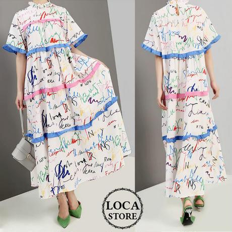 【2カラー】レディース 手書き風プリント デザインワンピース フリル ロングワンピ ゆったりフリル 半袖 韓国ファッション (DCT-598375460922)