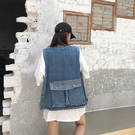 デニムベスト ゆったり 韓国ファッション レディース ベスト デニムジャケット ノーカラージャケット シングルブレスト ジージャン Gジャン DTC-611400482033