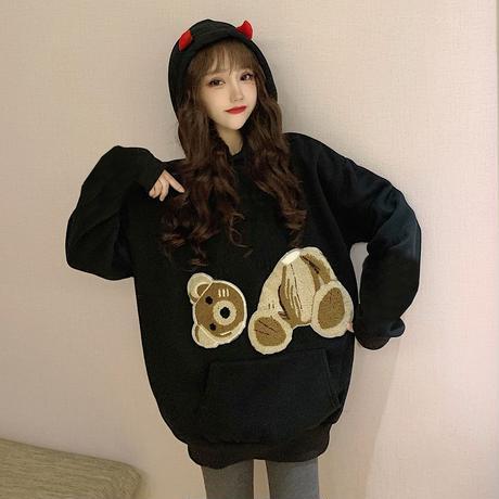 パーカー プルオーバー プラスベルベット 悪魔の角 悪魔の羽根 ルーズ 韓国ファッション レディース ブラック かわいい ガーリー 636346332895