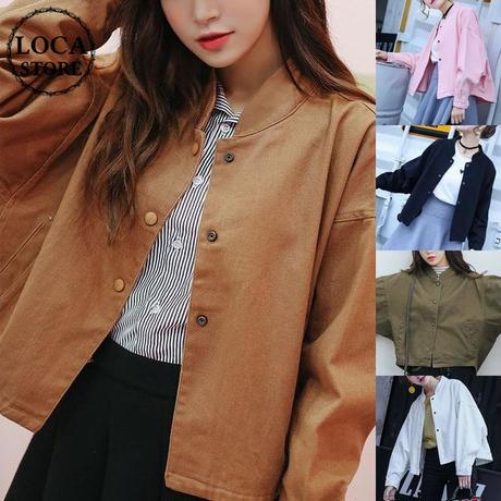 レディース デニムジャケット ショートバットスリーブ アウター ブルゾン フェミニン 韓国ファッション (DCT-557190989951)
