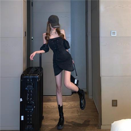 デニム ワンピース 絞り上げ 半袖 ハイウエスト パフ袖 韓国ファッション レディース 大人可愛い ガーリー DTC-643037180623