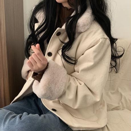 ボアジャケット もこもこ ウール 防寒 韓国ファッション レディース ボアブルゾン ルーズ ボア 長袖 ゆったり 大人可愛い ガーリー DTC-628316384541
