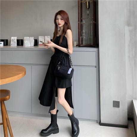 ワンピース アシンメトリー 不規則デザイン 韓国ファッション レディース オープンショルダー サスペンダースカート 大人カジュアル 大人可愛い ガーリー (DTC-622524123281)