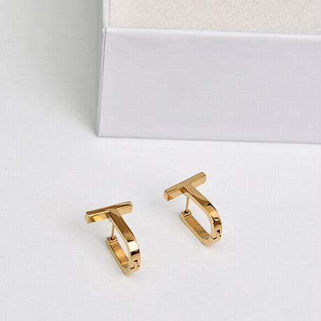 フープピアス 両耳 T字型 U字型 金属アレルギー対応 チタンスチール ピアス ゴールド アクセサリー DTC-632402922077