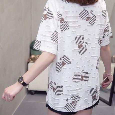 レディース ダメージ加工 クラッシュ加工 半袖 Tシャツ ストライプリボン柄 フェミニン 韓国ファッション (DCT-593344696456_19089)