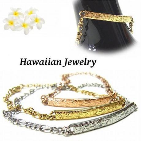 【ハワイアンジュエリー / HawaiianJewelry】 ブレスレット / バングル ゴールド プルメリア スクロール ホヌ (gbs8108)
