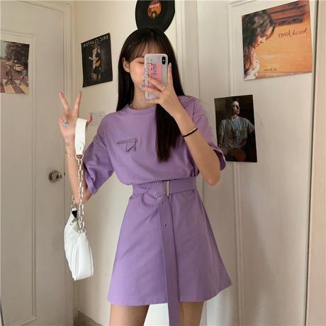 Tシャツ ワンピース ベルト付き 韓国ファッション レディース 無地 ラウンドネック オーバーサイズ 半袖 シンプル 大人可愛い ガーリー DTC-619791273575