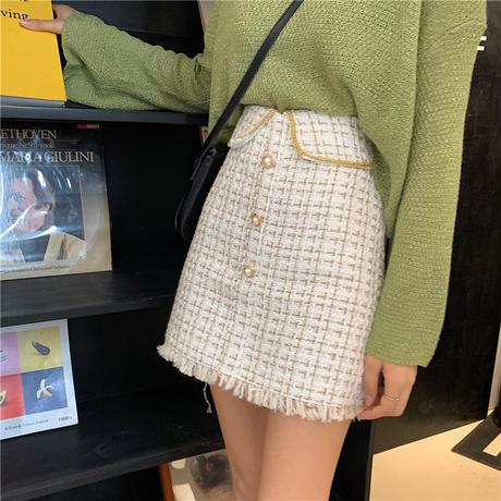 ツイード スカート イミテーションパール フロントボタン 韓国ファッション レディース チェック柄 ショート丈 薄い ウール  ハイウエスト 大人可愛い ガーリー DTC-625071416218