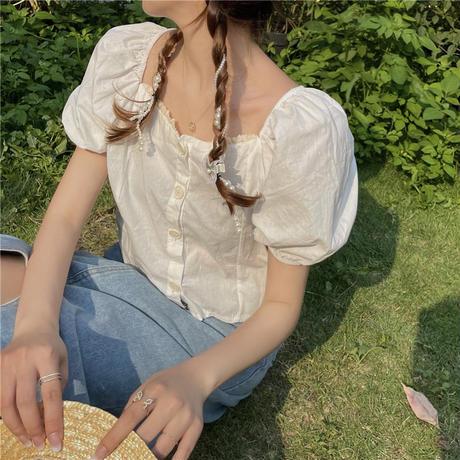 ブラウス クロップド丈 スクエアネック パフ袖 半袖 薄手 韓国ファッション レディース トップス ショート丈 大人可愛い ガーリーDTC-646896794249)