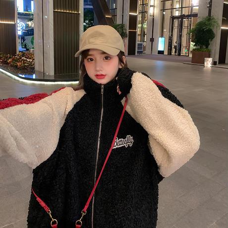 ボアブルゾン バイカラー 袖ライン ラムファー スタンドアップカラー 韓国ファッション レディース ボアジャケット ゆったり アウター 大人可愛い ガーリー DTC-629485538718