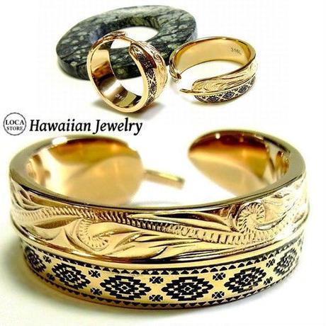 【ハワイアンジュエリー / HawaiianJewelry】 リング/指輪 フェザー オルテガ柄 K14イエローゴールドコーティング (grs8596)